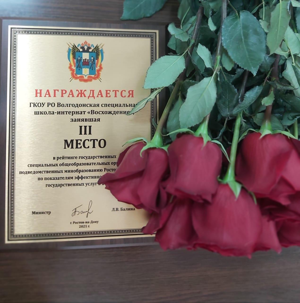Третье место в рейтинге государственных подведомственных министерству организаций